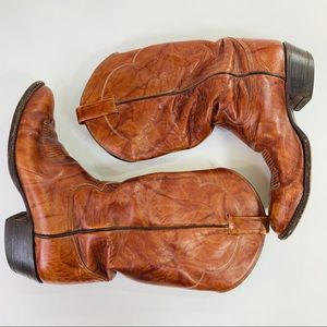 Tony Lama Cowboy Boots Brown Leather 9.5D